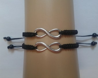 Couples infinity bracelets - his and hers jewelry - hers and hers - couples jewellery - couples bracelets - best friend bracelets - infinity