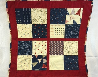Patriotic Vintage Charm Square Quilt Table Topper Chair Scarf Pet Bed Blanket Doll Quilt Home Decor