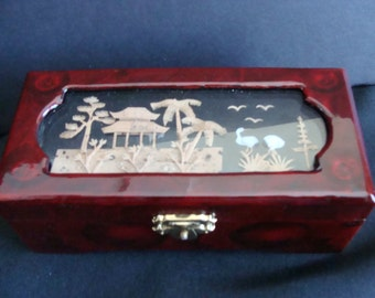 Vintage Diorama Trinket Box / Lacquer and Cork trinket box/ Cork diorama Jewelry box/ Silk lined trinket box / Cork diorama box/ Asian decor