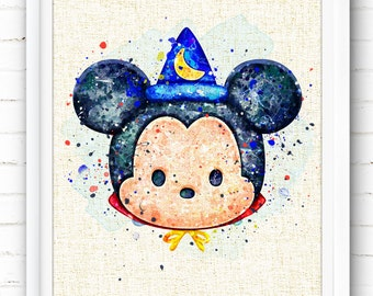 FREE SHIPPING Everywhere - Disney - Sorcerer Mickey Mouse - Watercolor Art Print Poster - Wall Art - Home Decor - Gift - Burlap Print, NA379