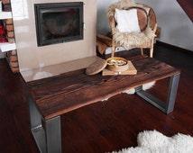 Unique Handmade Rustic Reclaimed Wood & Steel Industrial Bench Table