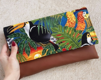 Toucan and parrots clutch bag, colorful summer clutch, Japanese clutch, pochette
