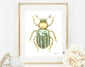 Bug Brooch Watercolor Rendering in Yellow Gold with Diamonds, Emeralds and Jasper printed on Paper