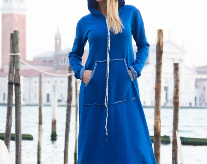 Plus Size Hooded Dress, Extravagant Cotton Long Dress, Front Pocket Maxi Kaftan, Oversize Dress By Ssdfashion