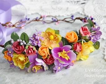 Bridal Floral crown Flower Hair Wreath Wedding Hair Yellow purple Flowers Head Wreath Flower Crown Bridal Wreath Wreath Floral Hair LV12