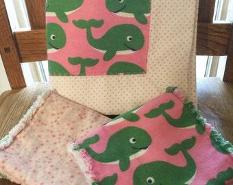 Receiving Blanket & 2 Burp Cloths, whales, pink, polk-a-dots, hearts