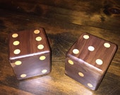 Wooden Dice Solid American Walnut with Maple Dots - Pair (2) Dice