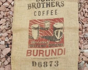 Dunn Bros Burundi Drum Burlap Coffee Bag - Coffee Lover Wall Art - Africa Jute Home Decor - Rustic Project DIY