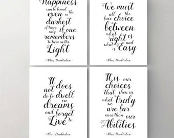 Set of 4. Harry Potter Print. Printable Poster. Happiness. Choice. Dwell. Albus Dumbledore Quote. Wall Print. Inspirational Art Print.