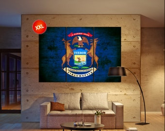 michigan state flag  canvas michigan state flag  wall decoration michigan state flag  canvas art michigan state flag  large canvas