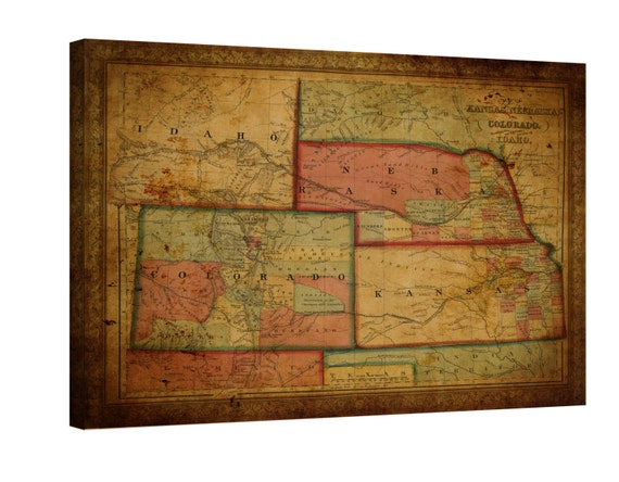 LARGE wrapped stretched old Idaho colorado kansas nebraska map  canvas wall art ,Giclee Art fine art