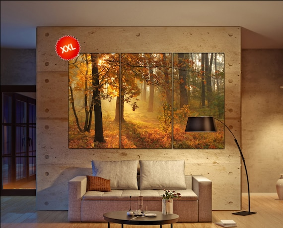Autumn forest large canvas wall art  decor print Autumn forest  large  living room  Office Decor
