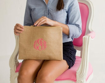 Monogramed Burlap Zip Pouch ~ Burlap Cosmetic Bag ~ Bridesmaids Gift ~ Travel Bag ~