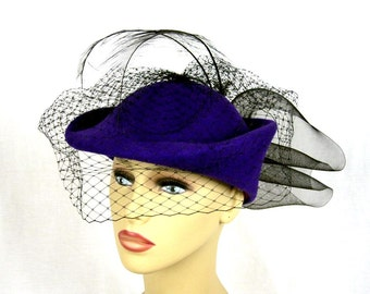 Mr Charles Veil Hat, Purple Wool, Black Net, With Feathers  Circa 1960s