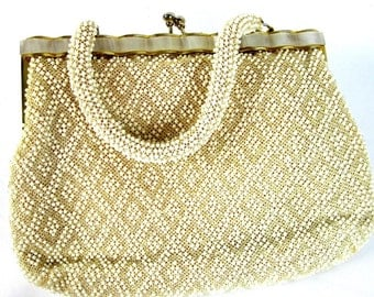Vintage White Beaded Handbag, Women's Ivory Evening Purse  1950s