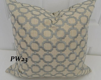 Fabricut Amadeus Lattice Frescoby - Decorative Pillow Covers with  Embroidered  Geometric Pattern Fabric / 20 x 20 / Both Sided