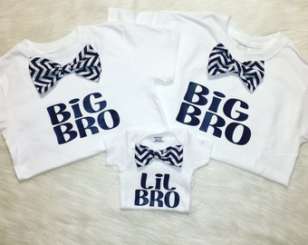 Big bro bow tie shirt, lil bro bow tie shirt, baby boys clothing, baby boys shirt, coming home outfit, pregnancy announcement shirt