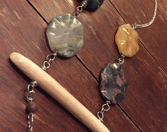 Large stone bead driftwood statement necklace - Missy