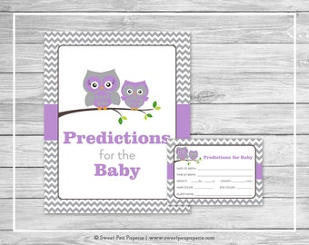Owl Baby Shower Predictions for Baby - Printable Baby Shower Predictions for Baby - Purple Owl Baby Shower - Baby Predictions - SP136