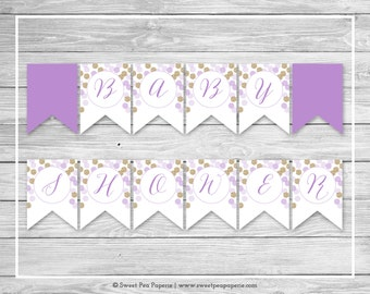 Purple and Gold Baby Shower Banner - Printable Baby Shower Banner - Purple Gold Glitter Baby Shower - Baby Shower Banner - EDITABLE - SP109