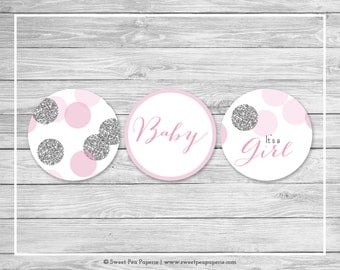Pink and Silver Baby Shower Cupcake Toppers - Printable Baby Shower Cupcake Toppers - Pink and Glitter Baby Shower - Cupcake Toppers - SP123