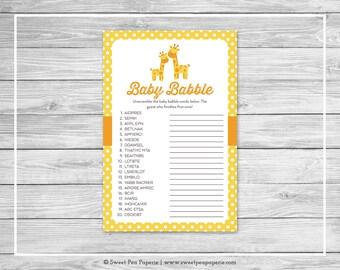 Giraffe Baby Shower Baby Babble Game - Printable Baby Shower Baby Babble Game - Yellow Giraffe Baby Shower - Baby Word Scramble - SP131