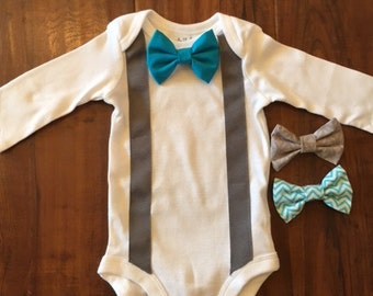 Bow Tie and Suspender Onesie with Snap on Bow Tie