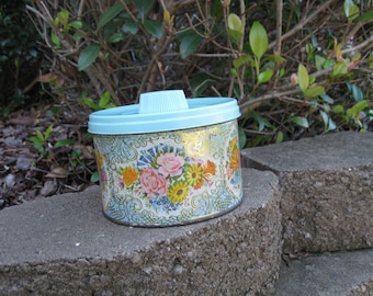 1958 Mrs. Leland's Candy Tin Aqua Lid