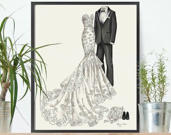 Wedding Gift - Anniversary Gift or Bridal Shower Gift - Custom Wedding Dress and Tuxedo Sketch - His & Hers