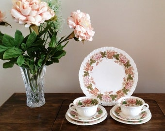 Wedgwood Wildbriar Teacups and Sandwhich Plate 2 Trios Wedgewood China Brown Pink Green Floral Wild Briar Cups TK423 Shell Edge Motif 1950s