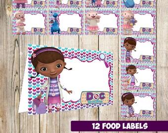12  Doc McStuffins Food Tent Cards instant download, Printable  Doc McStuffinss Labels,  Doc McStuffins food party