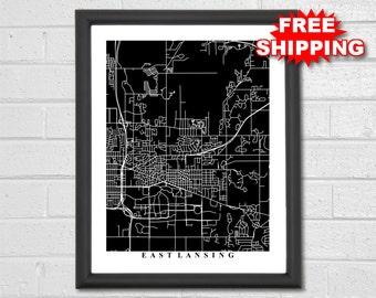 East Lansing Map Art - Map Print - Black and White - Michigan - Michigan State University - Home - Hometown - Office - Housewarming