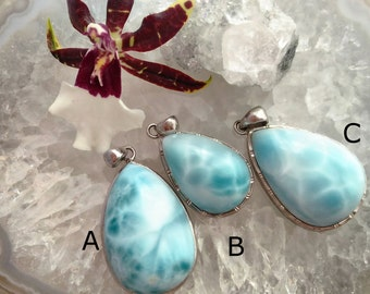 Dominican Larimar Pendant Sterling Silver Pear Shape