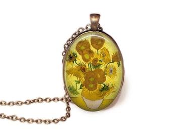 Sunflowers Vincent Van Gogh Jewelry Sunflowers Necklace Van Gogh Jewelry Van Gogh Art