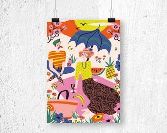 Poster A3 - Romantic Picnic - digital print