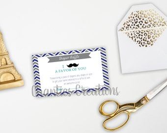 Instant Download - Little Man Mustache Chevron Diaper Raffle Ticket