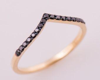 V Black Diamond Band, 14K Yellow Gold Ring, Pave Black Diamond Ring, Delicate Ring, Chevron Ring, Half Eternity Ring, Delicate Diamond Ring