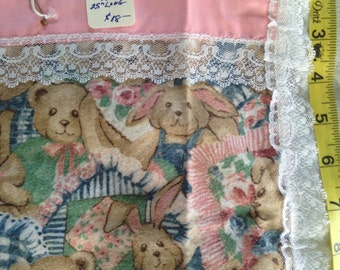 "Baby Doll Carriage Bear/Bunny Quilt & Pillow Set  18 x 25"".  Handmade"