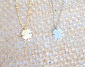 Four Leaf Clover Necklace small, gold or silver, short dainty delicate four leaf clover necklace