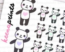 ON SALE A096 | Panda Full Repositionable Stickers Perfect for Erin Condren Life Planner, Filofax, Plum Paper, Happy Planner or scrapbooking