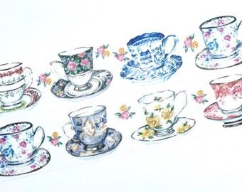 Elegant tea cups washi tape (T00351)