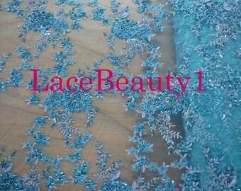 Dark Blue/light blue/purple embroidery mesh with handmade beading soft mesh venice mesh floral mesh fabric wedding fabric bridal fabric