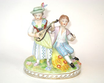 Antique Carl Thieme Dresden Hand Painted Porcelain Fairing Courting Couple Musician Figurine Germany