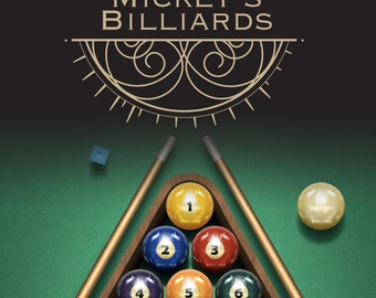 Personalized Billiards Sign | Custom Canvas| 16x24 |