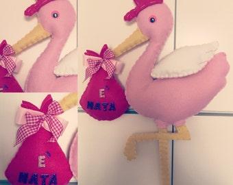 Felt baby Stork