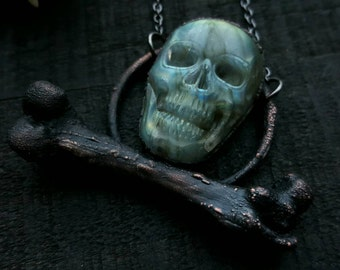Electroformed Labradorite Skull and Bone Necklace / Bone Jewelry / Skull Jewelry / Electroformed Necklace / Bone Necklace / Skull Necklace