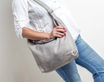 taupe leather shoulder bag - oversized leather bag - crossbody leather bag - over shoulder bag - over the shoulder bag - ALEX MS7038 - Taupe