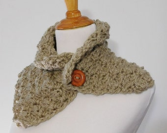 chunky scarf cowl with button, textured crochet neckwarmer, color taupe light brown