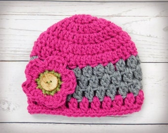 crochet baby hat,  baby girl beanie hat with flower and button, newborn hat,  pink beanie hat cap, baby shower gift, photo prop idea
