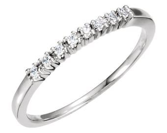 Dainty Diamond Anniversary band diamond wedding band White Gold- Rose Gold - Dainty wedding ring Diamond Anniversary Band -Yellow Gold -ring